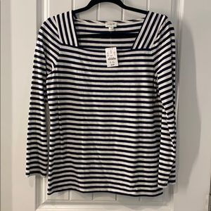 Navy and white j. Crew top